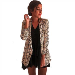 Women Snake Print Long Sleeve Suit Coat Blazer Biker Jacket Outwear Tops Womens Snake Print Blazer Womens Suit Top Women