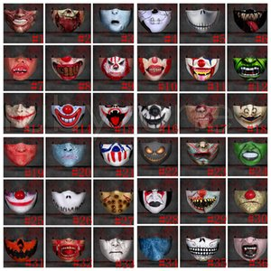 Hallowmas Scary Face Mask Dustproof Funny Clown Skull Masks Washable Anti Dust Printing Designer Masks With PM2.5 Filter 36styles GWF1923