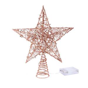 1PC del hierro de la estrella del árbol de navidad con luz LED del brillo de la estrella de 5 puntos ChristmasTree Topper Festival de copa de árbol Decoración