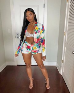 With Coat Patchwork Summer Sexy Short Sets Womens Clothing Hot Sale Womens Floral Designer Suits Short Pencil Pants