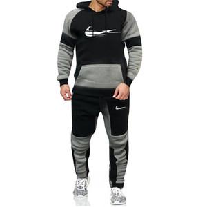 2020 novos esportes estilo faixa de 2 peças moletom com capuz homens terno Outono e calças pulôver homens inverno Ropa Hombre S-3XL