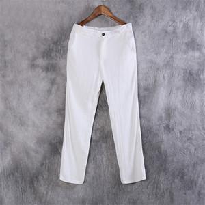SHAN BAO 2020 otoño suave de alta calidad de marca pantalones de lujo y cómodo algodón y lino rectas hombres pantalones casuales sueltos
