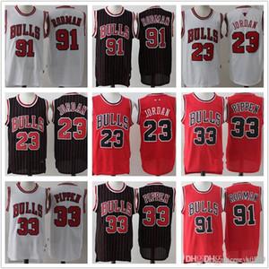 Mens Chicago.tourosRetrocesso23.MichaelMJ Red Dennis 91 Rodman Scottie 33 Pippen Shorts Black Basketball Jerseys Branco
