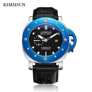 KIMSDUN reloj de cuarzo rosa Hombres redonda de oro relojes calendario completo de lujo 3Bar hebilla Resistente al agua reojes de hombre