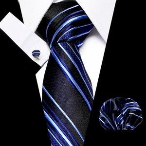 Men'sPolyester Jacquard 7.5cm 100%Silk Necktie Handkerchief Cuffink Set Blue Red Stripe Luxury Floral Necktie Mens Classic Ties