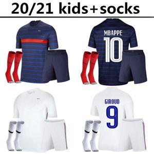 20 21 Франция дети комплект + носки футбол Джерси национальной команды PAVARD Варан Французский 2020 2021 мужской футбол равномерная игрока рубашка Camiseta де Futbol