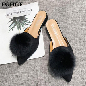 Women Shoes 2019 Spring Summer Casual Shoes Fur Mules Slip On Loafers Work Pointed Toe Slippers Zapatos Mujer Y441 H6LV#