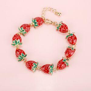 Creative New Fashion Strawberry Sweet Bracelets & Bangles Lovely Enamel Charm Bracelets Fruit Jewelry Gifts for Women-25