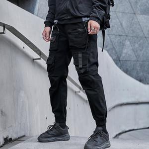 Calça cargo hip hop masculina, calça harém multibolsos, moletom streetwear casual masculina 2020