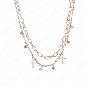 Women Rose Gold Necklaces Fashion Personality Cross Pendant Necklace Double Clavicle Chain Men Hip Hop Jewelry Christmas Gift