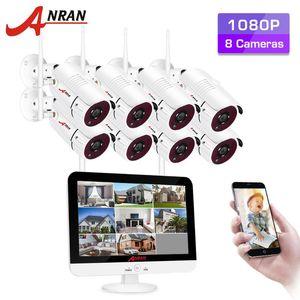 ANRAN Accueil Système de caméra de sécurité CCTV Surveillance vidéo Kit 1080P HD Outdoor Night Vision WiFi Caméra 12 pouces Moniteur NVR Kit