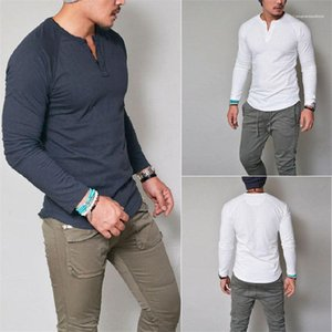 Erkekler İnce Uzun Kollu İlkbahar Sonbahar Erkek Casual Katı Renk Tasarımcı Erkekler Tees O yaka t Shirts için