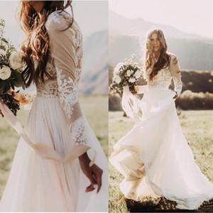2021 Bohemian Country Wedding Dress Sheer Long Sleeve Jewel Neck A Line Bride Dresses Lace Appliques Boho Beach Bridal Gowns Robe de mariage