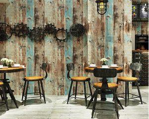 wellyu 3D Retro nostalgic 3D wood grain wood board wallpaper restaurant shop clothing store background wall paper roll