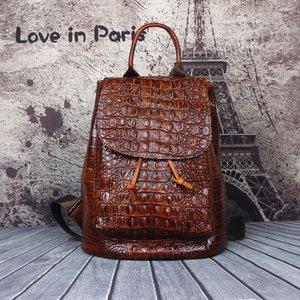 Qualitäts-Rucksack der Frauen echtes Leder der neuen Art-Vollkorn-Leder-Rucksack Retro Außenreisetasche Krokodil-Leder-Stadtstreicherin