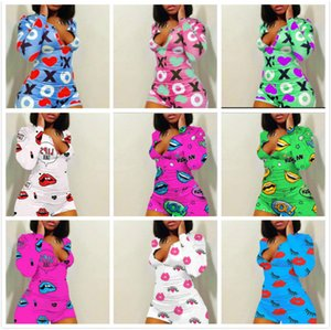 Les femmes Jumpsuit Barboteuses Pantalon de yoga pyjama imprimé design V Pantalons cou Shorts femme New Mode Nightclub Vêtements Grandes Tailles 2020