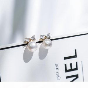 Vanssey Fashion Jewelry Bowknot Natural Baroque Pearl Cubic Zirconia Stud Earrings Accessories for Women 2018 New