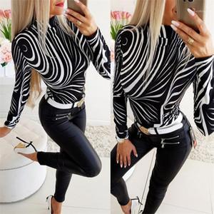 Tasarımcı Tişört Moda İnce Zebra Desen Standı Yaka Uzun Kollu Tişörtler Casual Bayan Giyim 2020 İlkbahar Kadınlar