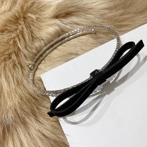 Frauen Hiphop Colliers Kristallbowknot-Halsketten für Frauen-Felsen Choker Schwarz Pu Bowknot Rhinstone Halsbänder Femme Schmuck