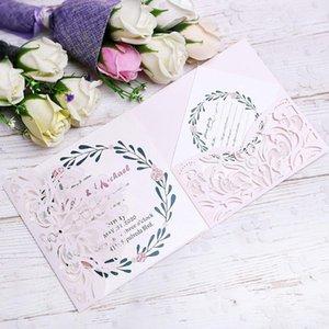 PONATIA 20 PCS Hellrosa 3 Folds Einladungskarten für Hochzeit Geburtstag Verpflichtungs-Gruß-Karten Karten + Free RSVP Karten