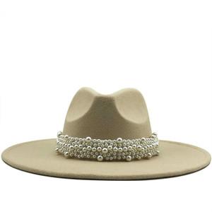 Neue frauen breite randimitation wolle fühlte fedora hüte einfache britische stil super big rand panama hüte mit perlengürtel