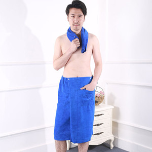 Towel Wearable Men Wrap Towel Shower Bath Soft Mircofiber Spa Gym Beach Snap Closure