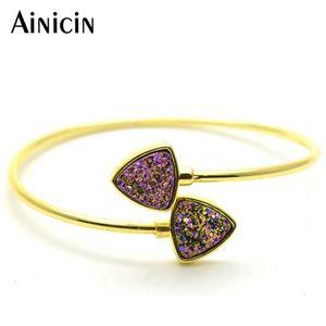 Natürliche Drusy Kristall Dreieck-Form geöffnetes Armbänder Gold Plating Armbänder Geburtstag Mode-Frauen-Geschenk Schmuck