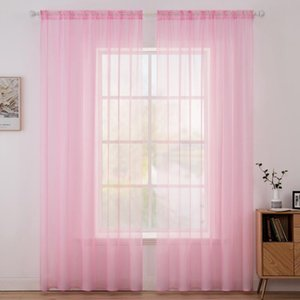 Solid Color Terylene Soft Sheer Window Curtains for Living Room Bedroom Modern Tulle Voile Organza Curtains Fabric Drapes