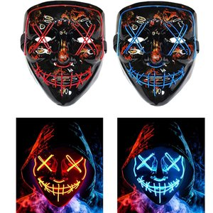 LED Halloween Mask Halloween Mask LED Scary Mask for Halloween Costume Masquerade Parties Carnival Gifts Free Shipping Without Battery