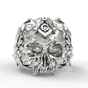 Men's Skull Ring Retro HipHop High Quality Jewelry Masonic Ring