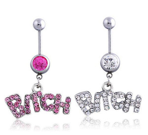 Silver Pink Sexy Crystal Body Piercing Surgical Button Belly Ring Jewelry Navel Bar Wholesale free ship