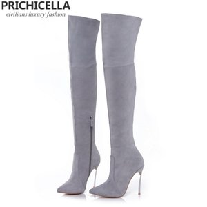 PRICHICELLA 8 см 10 см серый натуральная кожа над ботинками колена бедра высокие пинетки size34-42 LJ200919