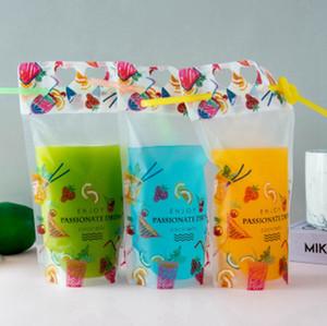 500мл Фруктовый напиток шаблона Пластиковой Упаковки Сумки для напитков соков Молока кофе, с ручкой и отверстиями для соломы EEA2011