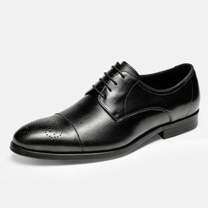 Men leather shoes business dress suit shoes men Bullock genuine leather black laces wedding mens shoes Phenkang 2020