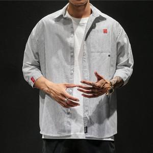 Erkekler Gömlek 2020 Moda Marka Uzun Kollu Erkek Retro Rahat Çizgili Baskı Gömlek Erkekler Üst 1pc Milancel CAMISAS koszule