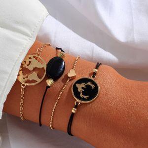 Moda Anomokay 4pcs / euro americano creativo Negro Aceite astas Amor conjunto de joyería de la pulsera de Fo