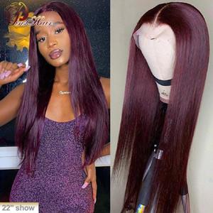 Кружевные парики Бургундские передние человеческие волосы красный 99J парик 13x1 часть перуанский Preucked Pinshair Remy 150%