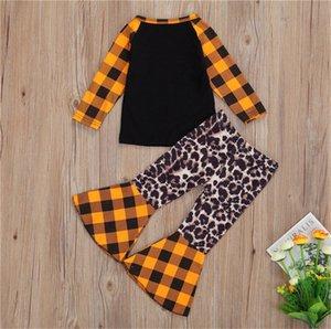 Хэллоуин одежды костюм тыквы печати клетчатые сорочки пуловеры футболки вершины + мода расклешенные длинные брюки малышей легкий костюм с шортами нарядах D9402