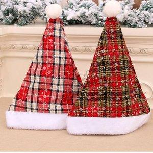 Papai Noel malha Chapéus Caps Decor Natal de Abastecimento de Ano Novo Chapéus listrada ondulada Fluffy-Plush Pompom de Santa Cap Adulto Infantil