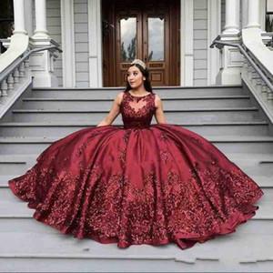 Ucuz Burgundy Kızlar Yarışması Elbise Mücevher Boyun Pullarda Dantel Boncuklu Balo Saten Çiçek Kız Elbise Çocuk Doğum Komünyonu Elbise Wear