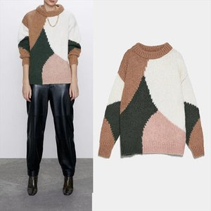Women sweater Za 2019 patchwork O neck casual turtleneck long sleeve cashmere warm elegant pullover Drop Shipping