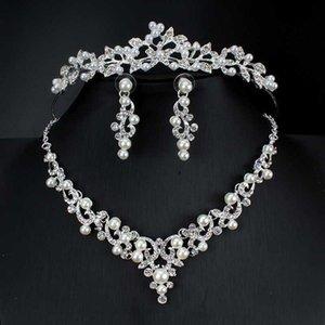 Joyería de las mujeres pendientes del collar nupcial conjunto corona de perlas de imitación boda joyería accesorios de vestir