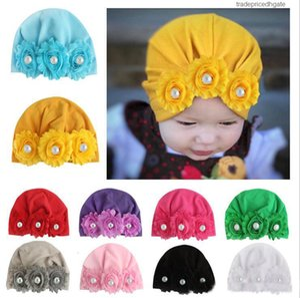 Perle Chapeau mou Turban fleur Cute Girl New Bohemian style Conçu pour les enfants du nouveau-né Cap Bébés filles