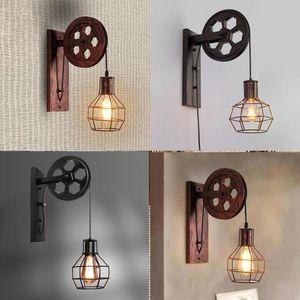Lampada da parete di sollevamento puleggia casa Corridoio Soggiorno E27 Ristorante Rustico Ferro Loft Cafe Retro Industriale regolabile Sconce Luce