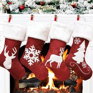 Large Size Christmas Stocking Decoration Kids Gift Bag Candy Bag Christmas Ornament Socks Home Party Xmas Tree Pendant Happy New Year