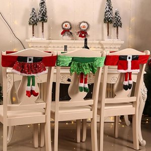 Babbo Natale Elf Gambe Dining Chair Back Cover Festive Kitchen Decor