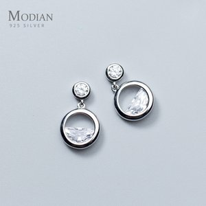 Modian Sparkling Round Irregular Clear Zircon Drop Earrings Gold Color Dangle Ear 925 Sterling Silver Fashion Wedding Jewelry