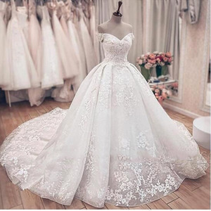 Off The Shoulder Floral apliques vestido de baile vestidos de noiva Lace Querida Vestido de novia 2020 weddingdresses para as mulheres