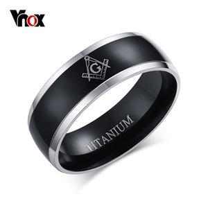 Vnox Brand 100% Titanium Carbide Ring Freemasonry Masonic Black Men Ring Free Mason