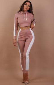 Nouveau Femmes Survêtement rayé Yoga Set capuche Crop Top taille haute Pantalons Sportswet Sweat